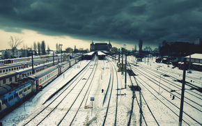 Station, train, loneliness, winter, wire, clouds, railroad