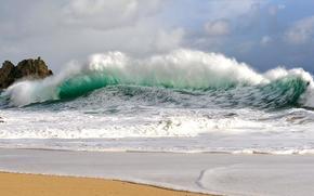 seascape, sea, waves, coast, sand