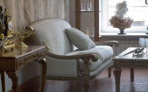 interior, sofa, table, bust, room, style, mood