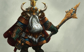 gnomo, martelo, barba, Chifre, armadura, pessoal, capacete, guerreiro, Arte