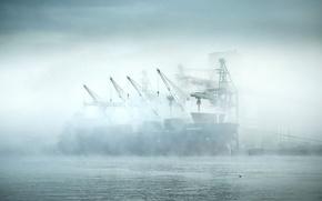 Morning, port, dry-cargo ship