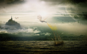 Bad weather at sea, ship stormy, dragon swoops, the flame is lit