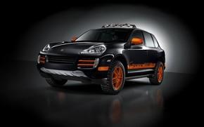 Porsche, tuning, black, orange