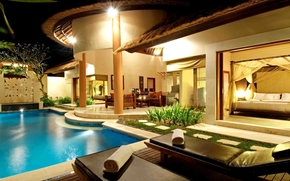villa, dacha, pool, water, Sunbeds, beds, Sofa, Table, evening, night, wallpaper