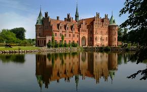 城堡, 房子, 水, 反射, 草, 夏天, 天空, 滨, 树