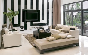 комната,  стиль,  диван,  телевизор,  окно,  растение,  полосы