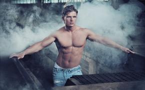 парень,  тело,  торс,  пресс,  взгляд,  джинсы,  дым