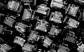 cable, en blanco y negro, Conector