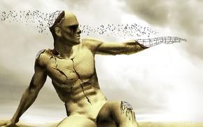 человек, песок, рука