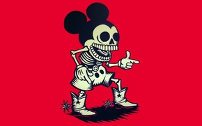 Topolino, scheletro, cowboy