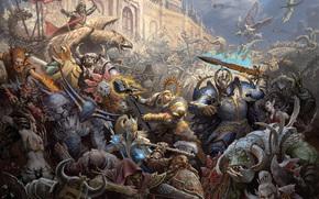 guerra, battaglia, impero, caos, Magi, Warriors, nani, Griffins, Orchi, Elfi, Gretchin, castello, magia, assalto, assedio
