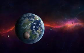 planet, satellites, Star, radiance