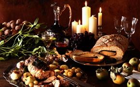 gebackenes Fleisch, rollen, Gemse, Trauben, Wein, Stillleben