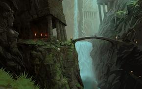 景观, 山, 瀑布, 桥, 雕像, 寺庙, 灯火, 楼梯, 阶梯, 艺术
