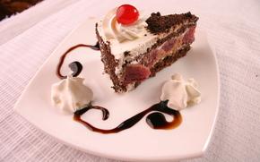 еда,  сладкое,  пирожное,  кусочек торта,  тортик,  крем,  вишня,  шоколад,  тарелка,  стол,  скатерть,  розовая