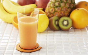 food, fruit, pineapple, kiwi, orange, banana, apple, juice, natural, glass