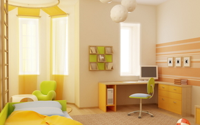 interior, style, design, room, apartment, Children, Green, bed, chair, table, Books, ball, window, computer, Shelves, background