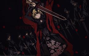 девушка, меч, оружие, взгляд