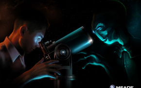 tipo, extraterrestre, telescopio