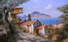 Miliukov alexander, sun, Gurzuf, Crimea, sea, sail, houses, mountain, Flowers, joy, summer, tree, picture, painting, beauty, paradise