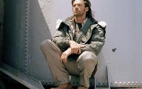 мужчина,  актер,  хью джекман,  куртка,  ботинки,  волосы