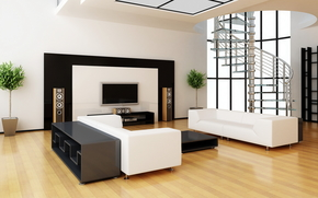 interr, room, apartment, design, style, stereo system, sofa, white, ladder, stairs, TV, column, plants. vase. Flowers