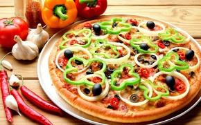 еда,  пища,  пицца,  вкусно,  болгарский перец,  чеснок,  помидор,  острый перец,  маслины,  оливки,  лук