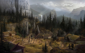 горы,  водопад,  пейзаж,  деревня,  дома,  фентези