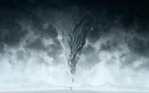 гора,  зима,  метель,  снег,  человек,  холод,  арт