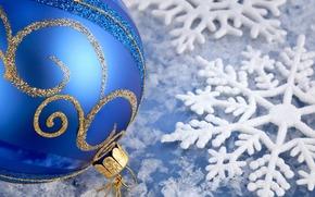 Winter, New Year, holiday, Christmas, ball, tinsel, Gold, snowflake, ice