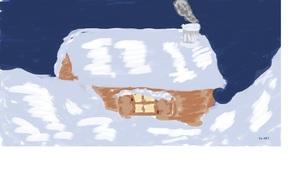 Русская зима, снег, ночь, изба