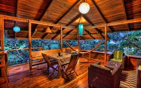 cas, verand, copac, copaci, plant, hamac, Mobilier din rachita, Becuri, odihn, relaxare