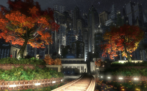 city, Garden, Trees, autumn