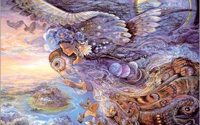 nia, noche, alas, Mariposas, fantasa