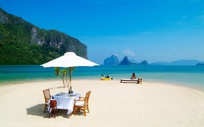 ocean, beach, Mountains, paradise