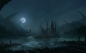 Art, night, lake, island, ruins, lights, man, Armor, sword, moon