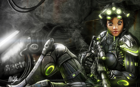 Art, girl, armor, weapon, suit, lights, soldier, smoke