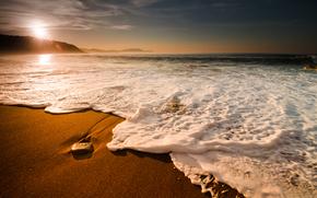 landscapes, sea, nature, ocean, element, elements, water, Beaches, coast, coast, Wave, waves, foam, Bubbles, mountain, Mountains, stone, stones, rock, rocks, sky, Widescreen Wallpaper