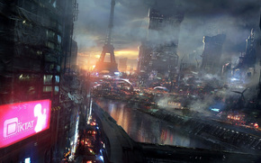 city, night, Art, fantasy, future