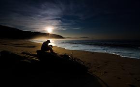 mood, landscapes, sea, water, ocean, coast, coast, Beaches, sand, Wave, waves, sun, dawn, mountain, Mountains, man, people, Men, man, guy, boys, Bicycles, Cameras, stone, stones, dawn