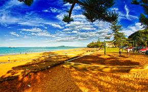 beach, People, Trees, Sea