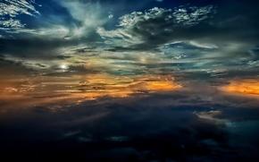 sky, clouds, sunset