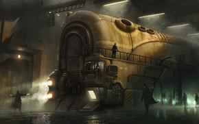 громадный, поезд, локомотив, люди, железная, дорога