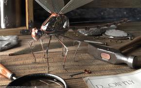 libellula, tavolo, martello, lente d'ingrandimento, chiave, macchinario