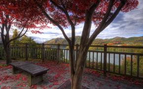 nature, autumn, village, Mountains, Lake, foliage, beauty, calm, bench, harmony