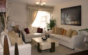 interno, design, camera, immagine, lampadario, Divani, sttolik, tendaggio, finestra, comfort