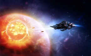 space, spacecraft, planet, Star