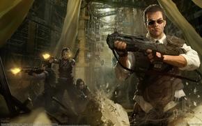арт,  мужчина,  девушки,  оружие,  город,  стрельба,  камни,  очки,  сигарета,  автомат