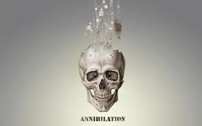 череп,  аннигиляция,  пиксели,  частицы,  серое