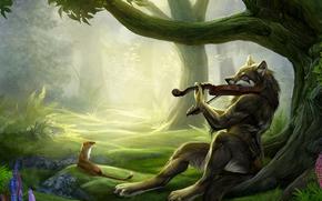 fantaisie, fort, Amis, violoniste, loup, violon